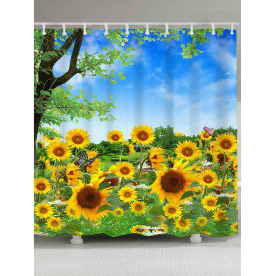 Buy YELLOW Trees and Sunflowers Pattern Waterproof Shower Curtain for $17.58 in GearBest store