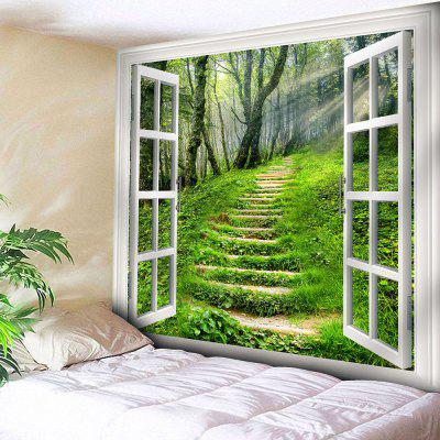 Buy GREEN Wall Hanging Window Forest Path Tapestry for $11.19 in GearBest store