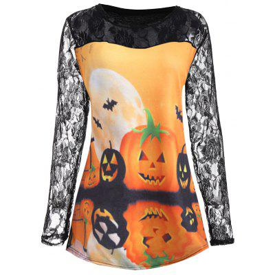 Plus Size Halloween Pumpkin Moon Lace Insert T-Shirt