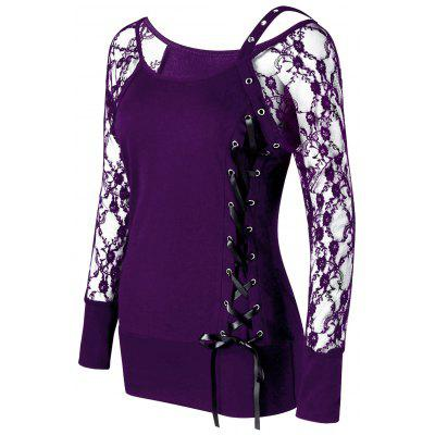 Raglan Sleeve Lace Up Top