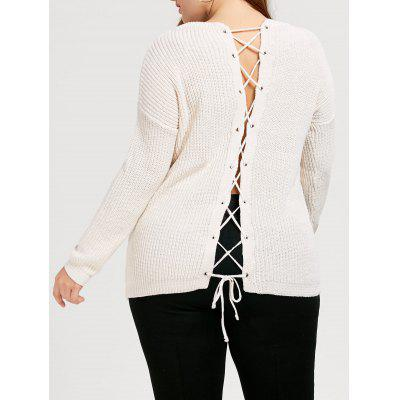 Back Lace Up Chunky Plus Size Sweater