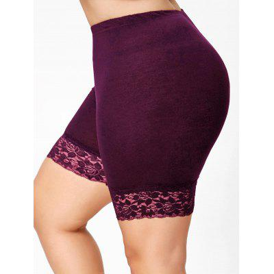 Buy WINE RED 3XL Plus Size Lace Insert Short Leggings for $11.69 in GearBest store
