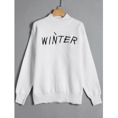High Neck Winter Graphic Sweater