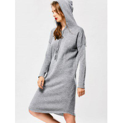 Buy GRAY Drawstring Hooded Sweater Dress for $34.89 in GearBest store