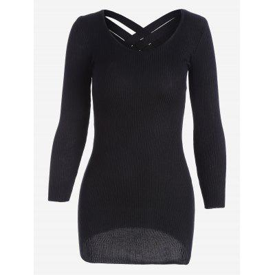 Buy BLACK Ribbed Long Sleeve Knitted Dress for $21.48 in GearBest store