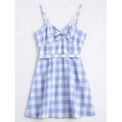 Bowknot Checked Belted Mini Dress
