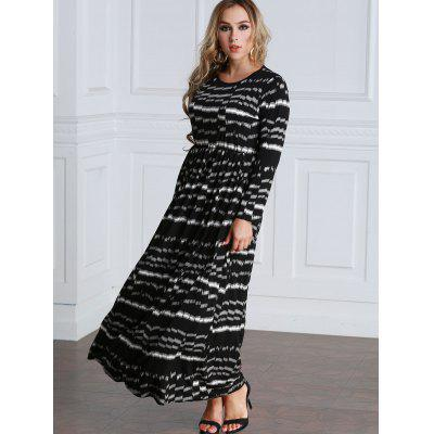 Tie Dyed Long Sleeve A Line Maxi Dress