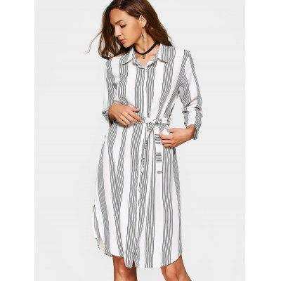 Buy STRIPE XL Button Up Slit Striped Dress with Belt for $25.42 in GearBest store