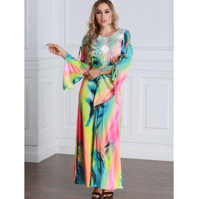 Colorful Tie Dyed Bow Tie Maxi Dress