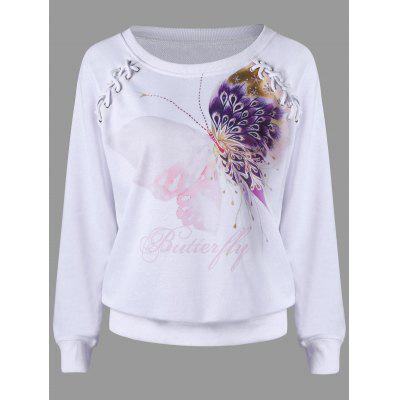 Butterfly Print Lace Up Sweatshirt