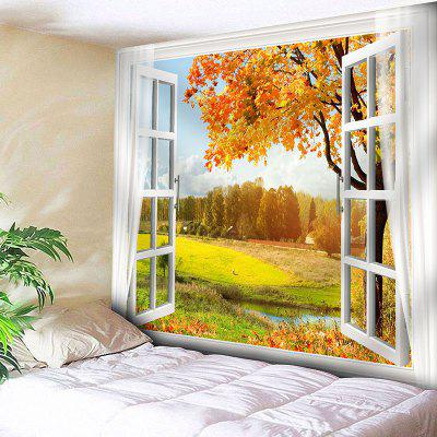 Buy YELLOW Window Scenery Tree Print Wall Tapestry for $15.57 in GearBest store