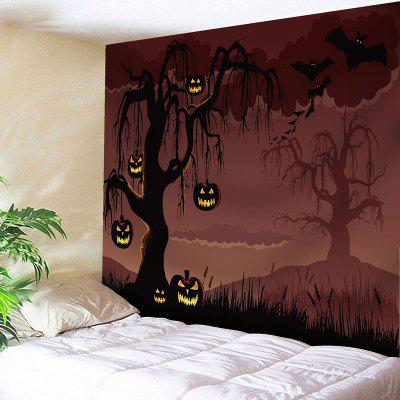 Halloween Pumpkin Lantern Tree Wall Tapestry