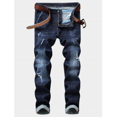 Blanqueado efecto Zipper Fly Straight Leg Ripped Jeans