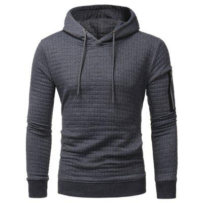 Hooded Plaid Embossing Zip Pocket Pullover Hoodie