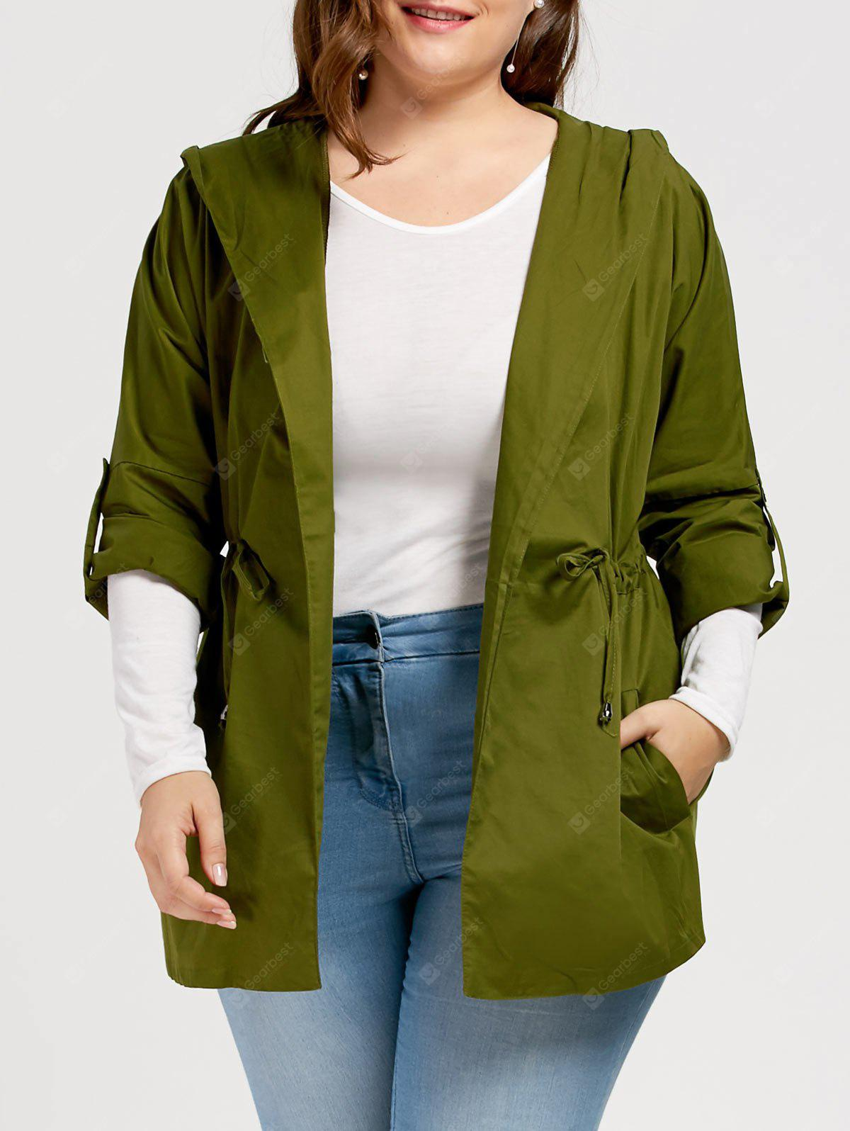 Plus Size Hooded Trench Coat with Drawstring