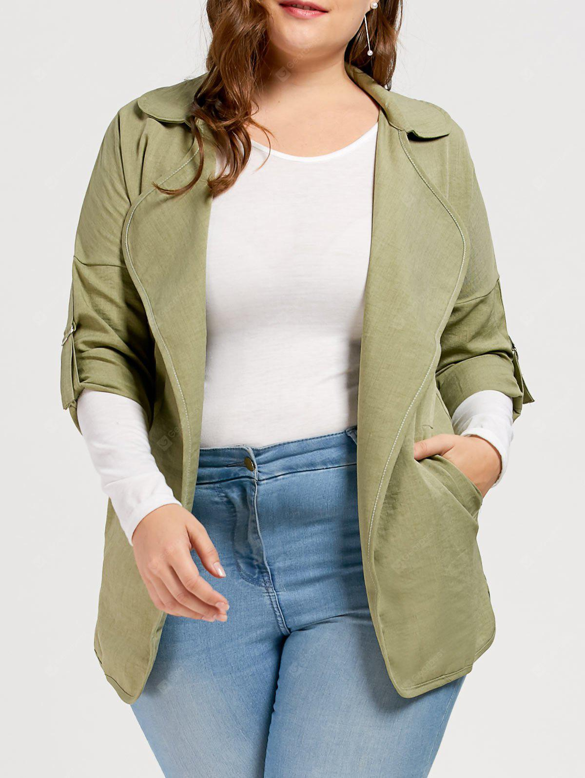 Plus Size Slit Turn Down Collar Trench Coat