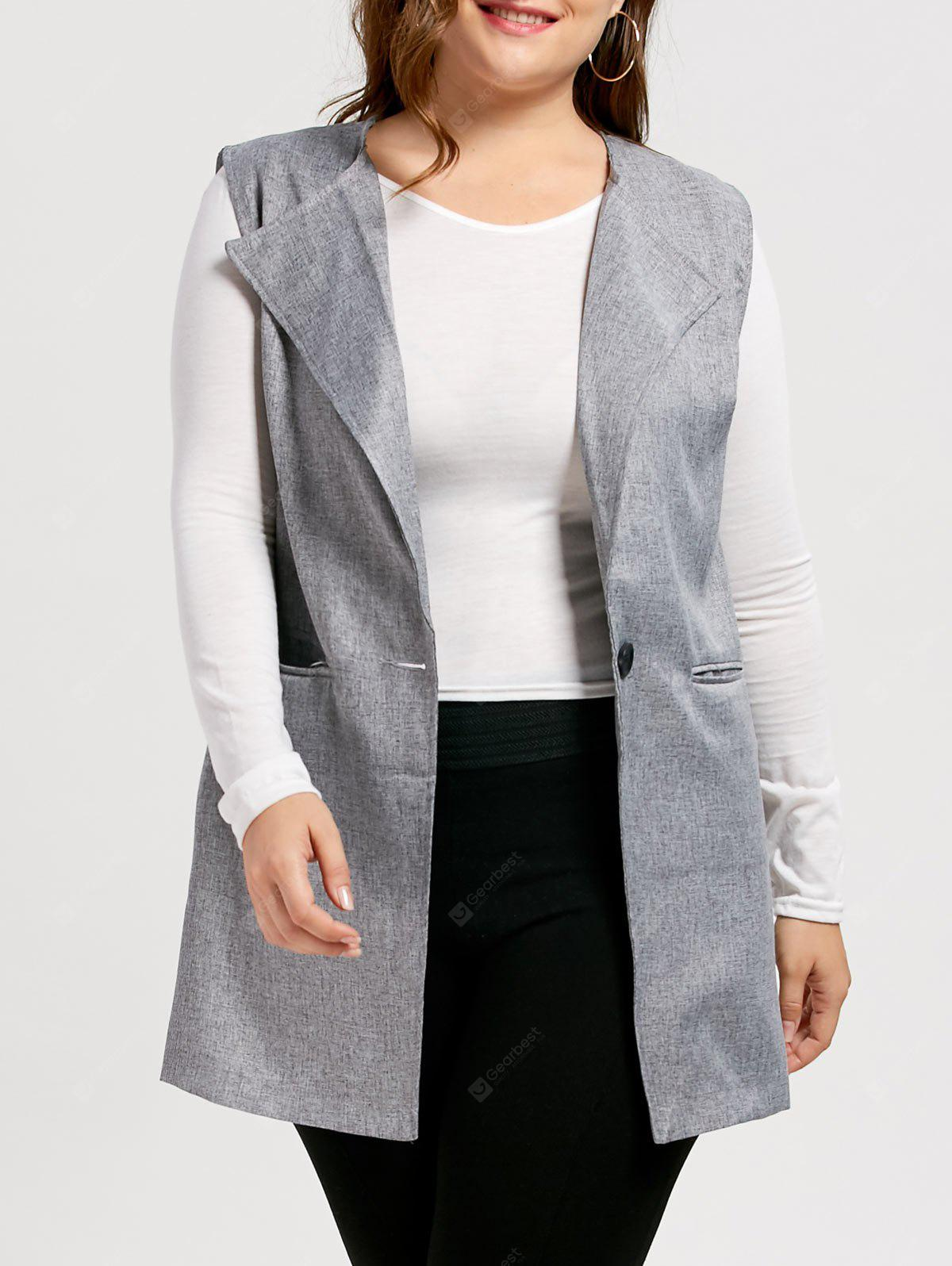 Plus Size One Button Sleeveless Trench Coat