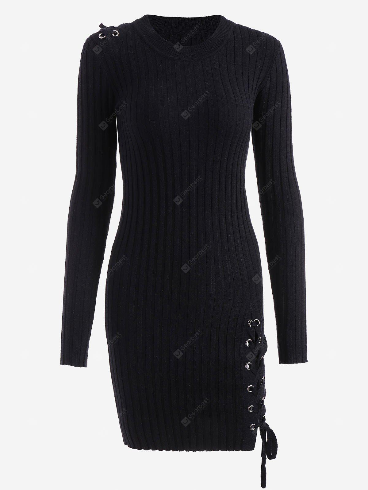 Lace Up Knitted Bodycon Mini Dress