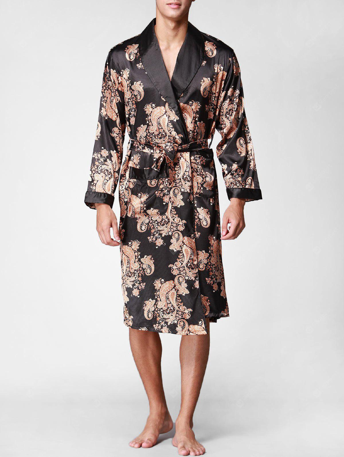 Printed Wrap Satin Robe with Belt