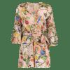 Flare Sleeve Floral Print Romper with Belt - FLORAL