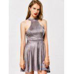Faux Suede Back Lace Up Club Skater Dress - GRAY