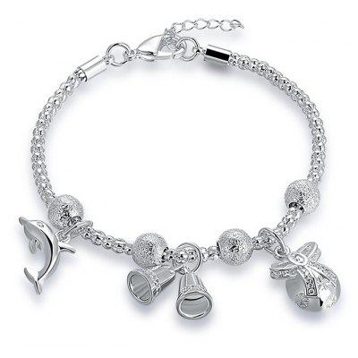 Christmas Bell Dolphin Charm Chain Bracelet