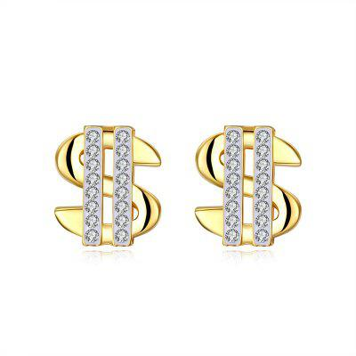Rhinestones US Dollar Shape Stud Earrings