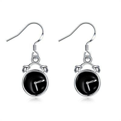 Alloy Funny Clock Fish Hook Earrings