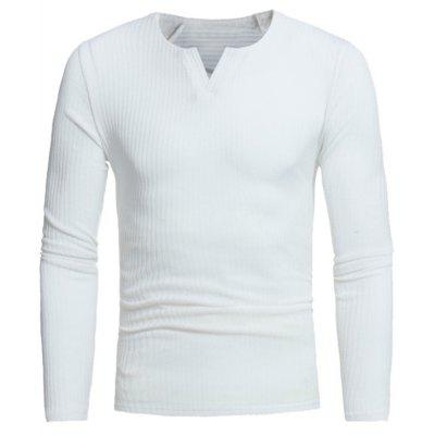 Buy WHITE Stretchy V Neck Long Sleeve Ribbed Sweater for $16.89 in GearBest store