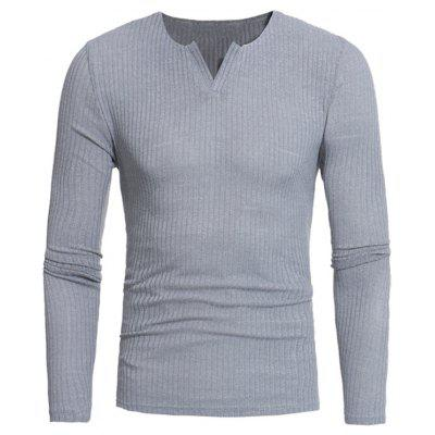 Buy GRAY Stretchy V Neck Long Sleeve Ribbed Sweater for $16.89 in GearBest store