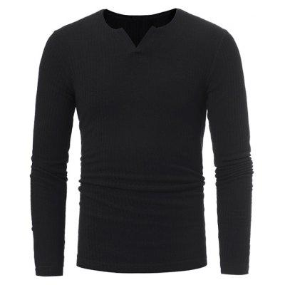 Buy BLACK Stretchy V Neck Long Sleeve Ribbed Sweater for $16.89 in GearBest store