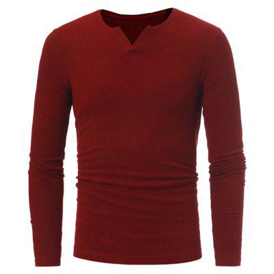 Buy RED Stretchy V Neck Long Sleeve Ribbed Sweater for $16.89 in GearBest store