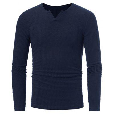 Buy CADETBLUE Stretchy V Neck Long Sleeve Ribbed Sweater for $16.89 in GearBest store