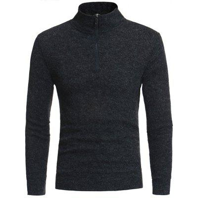 Buy DEEP GRAY Turtle Neck Knitting Zipper Sweater for $23.01 in GearBest store