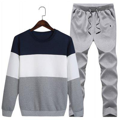 Buy DEEP BLUE Crew Neck Color Block Fleece Sweatshirt Twinset for $27.75 in GearBest store