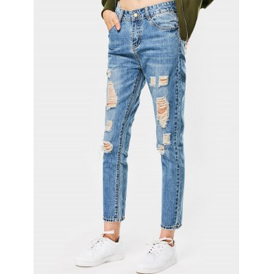 Buy DENIM BLUE 27 Destroyed Ninth Pencil Jeans for $33.95 in GearBest store