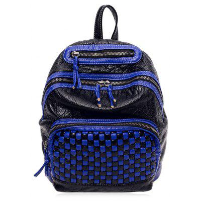 Plaid Pattern Zippers Backpack