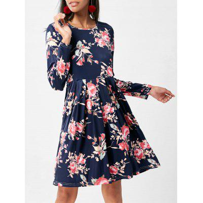 Buy PURPLISH BLUE S Floral Swing Dress with Long Sleeve for $19.14 in GearBest store