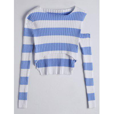 Striped Cut Out High Low Knitwear