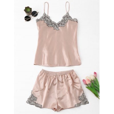 Buy PINKBEIGE L Satin Applique Pajama Set for $21.81 in GearBest store