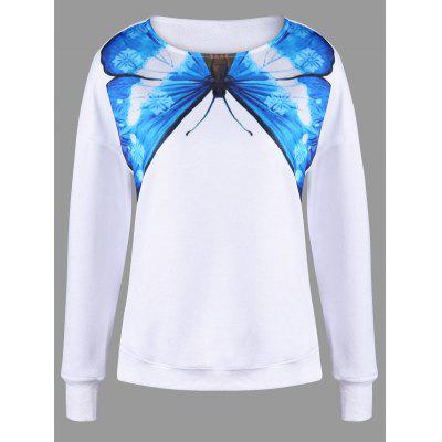 Butterfly Print Drop Shoulder Sweatshirt