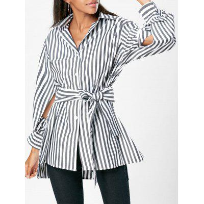 Buy STRIPE S High Low Slit Striped Shirt with Belt for $23.71 in GearBest store