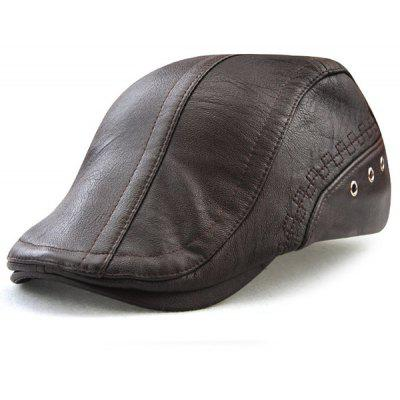 Faux Leather Round Rivet Embellished Newsboy Hat