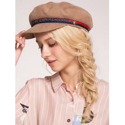 Woven Rope Embellished Pinstriped Beret Hat