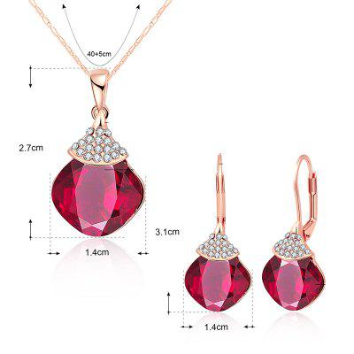 Fruit Shape Zircon Pendant Necklace with EarringsJewelry Sets<br>Fruit Shape Zircon Pendant Necklace with Earrings<br><br>Gender: For Women<br>Item Type: Pendant Necklace<br>Metal Type: Alloy<br>Package Contents: 1 x Necklace  1 x Earrings(Pair)<br>Shape/Pattern: Others<br>Style: Noble and Elegant<br>Weight: 0.0500kg