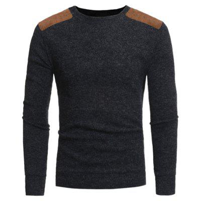 Suede Panel Elbow Patch Ribbed Sweater