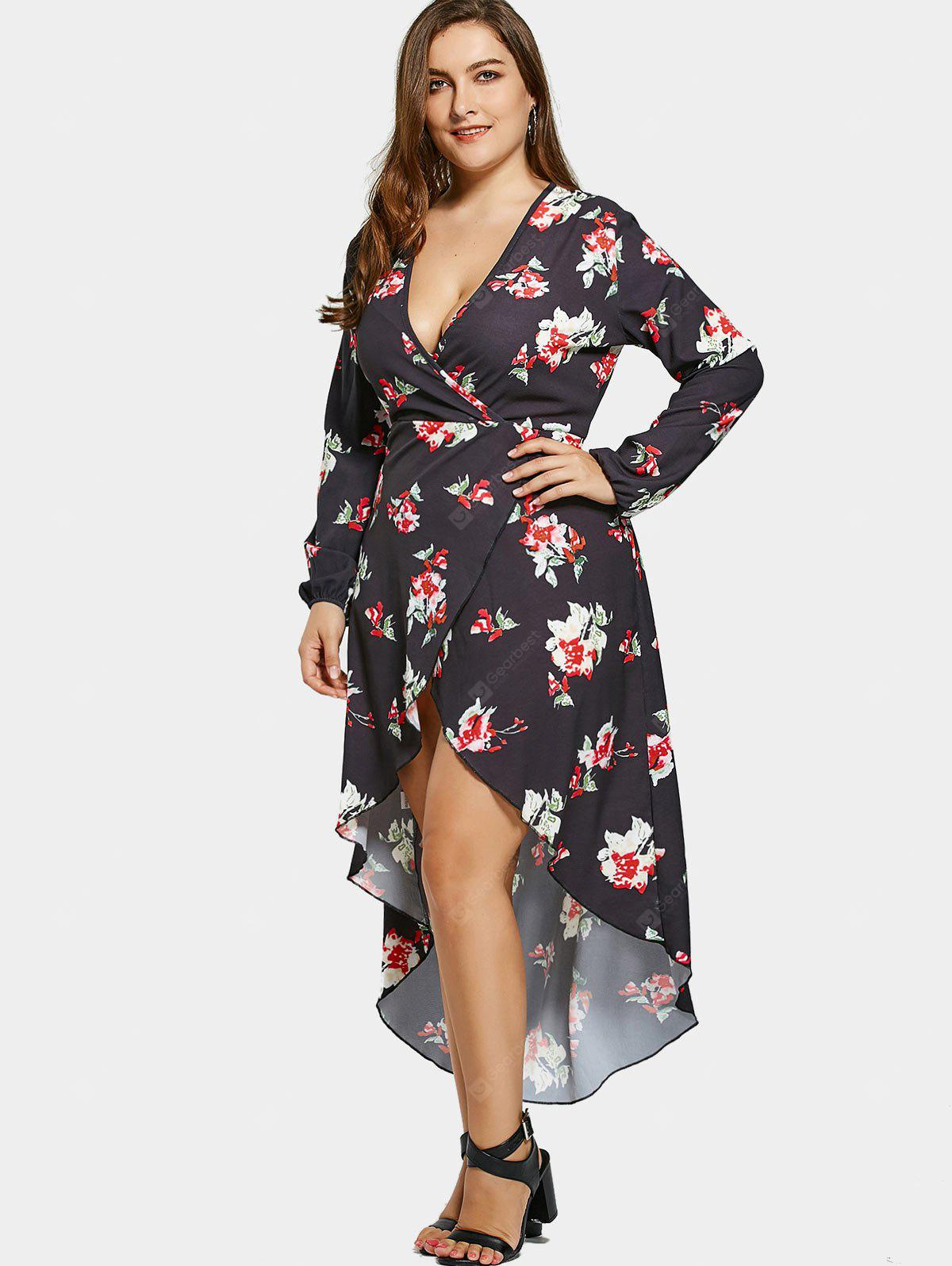 High Low Floral Plus Size Surplice Maxi Dress