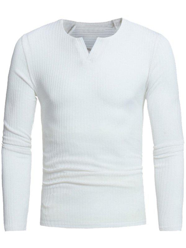 Stretchy V Neck Long Sleeve Ribbed Sweater
