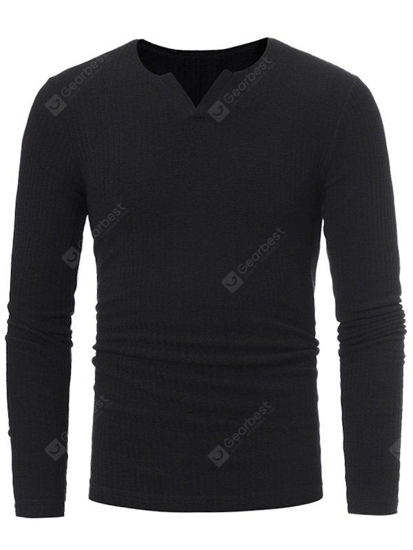 BLACK Stretchy V Neck Long Sleeve Ribbed Sweater