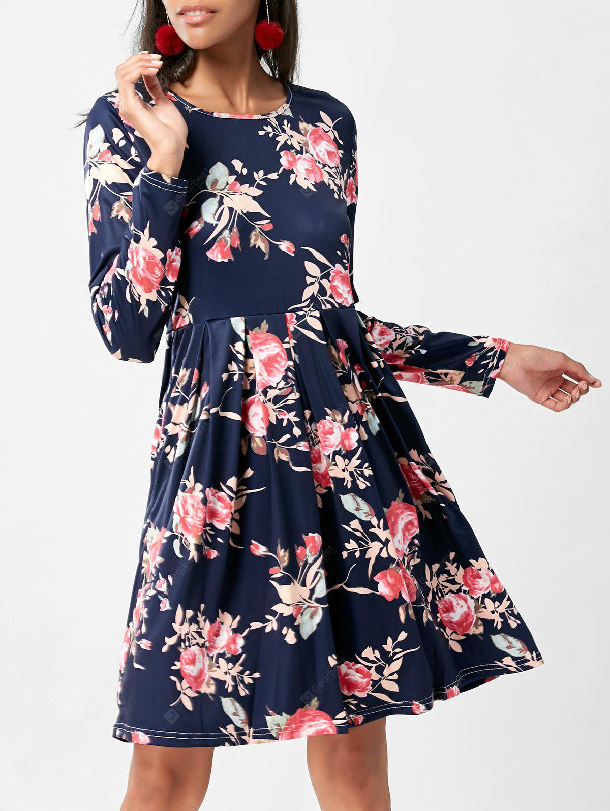 Floral Swing Dress with Long Sleeve